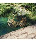 Ginkgo XXL - Boucles d'oreilles dorées