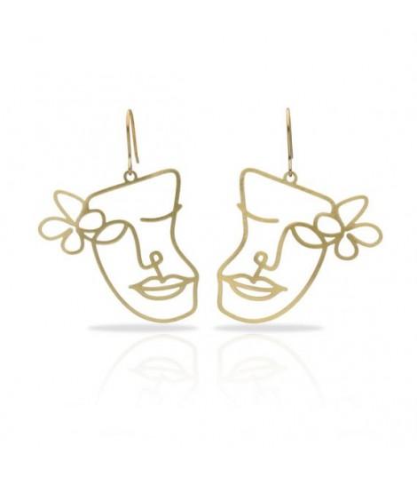 Cubisme Fleur - Boucles d'oreilles dorées ou argentées