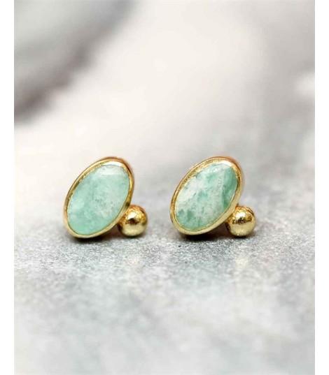 Vania Amazonite - Boucles d'oreilles dorées