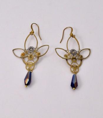 Rosa - Boucles d'oreilles engrenages montre ancienne