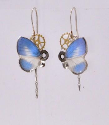 Gina - Boucles d'oreilles papillon & engrenages montre ancienne